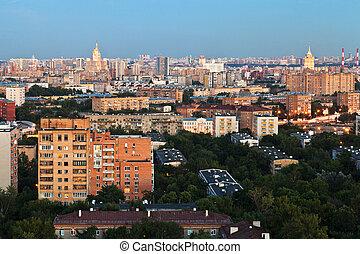 city in summer evening