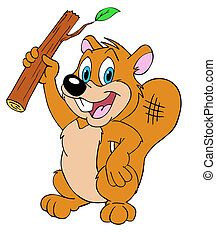 Proud Beaver - hand drawn cartoon of a beaver with a log