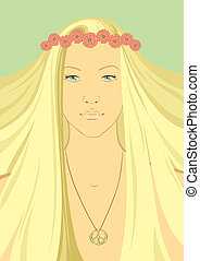 Hippy Girl with a wreath of flowers - vector illustration...