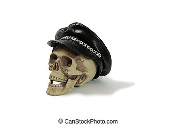 Biker cap on skull - Leather biker cap with a chain across...