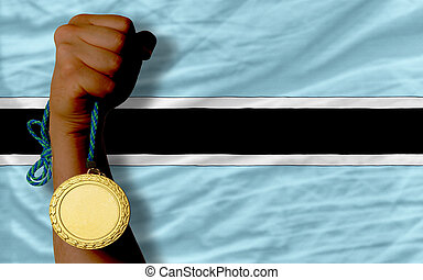 Gold medal for sport and national flag of botswana - Winner...
