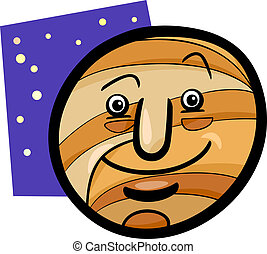 funny Jupiter planet cartoon illustration - Cartoon...