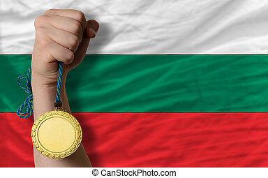 Gold medal for sport and national flag of bulgaria - Winner...