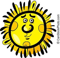 divertido, caricatura, Ilustración, sol