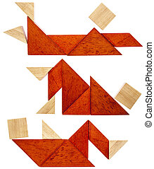 tangram resting figures - three abstract figures lying down...