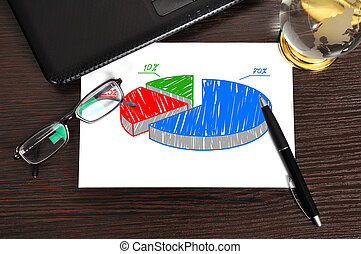 pie chart on paper - workplace with growth pie chart on...