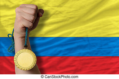 Gold medal for sport and national flag of columbia - Winner...