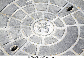 city sewer manhole on the road, china