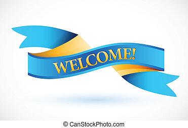 welcome blue waving ribbon banner