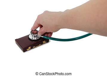 Business Health - Medical stethoscope on burgandy leather...
