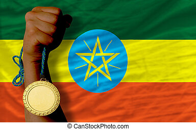Gold medal for sport and national flag of ethiopia - Winner...