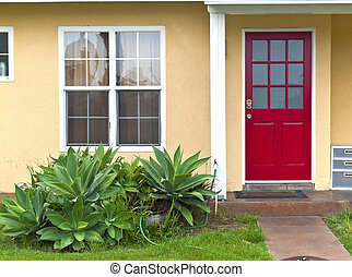 Red door entrance. - A red door entrance Point Loma San...