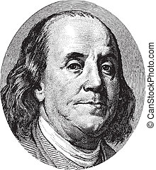 Benjamin Franklin portrait from US dollar bill