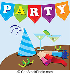 party design over blue background vector illustration