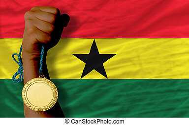 Gold medal for sport and national flag of ghana - Winner...