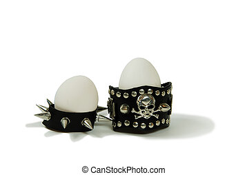 Tough eggs - Leather straps with metal spikes, Large white...