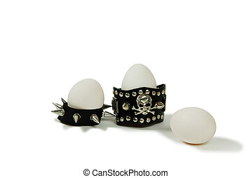 Spiked eggs - Leather straps with metal spikes, Large white...