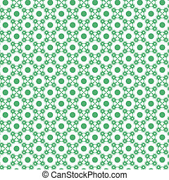 Snow Flakes and Dots Pattern in green agaisnt white...
