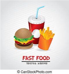 fast food label over gray background vector illustration