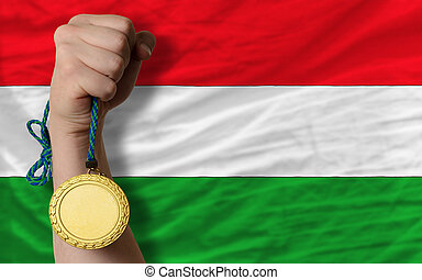 Gold medal for sport and national flag of hungary - Winner...
