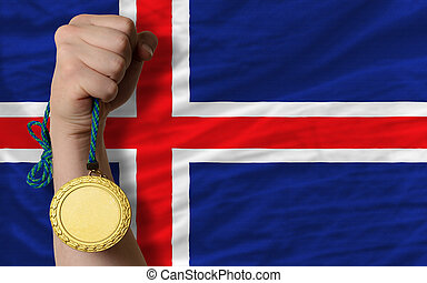 Gold medal for sport and national flag of iceland - Winner...