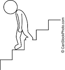 Sad businessman walking downstairs - Vector illustration of...