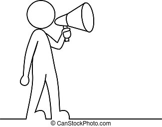 Simple person with megaphone - Vector illustration of Simple...