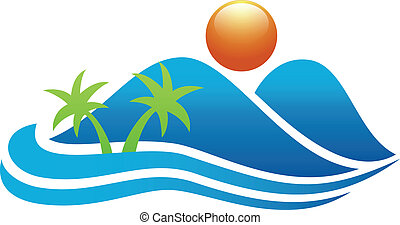 Tropical island icon - Vector illustration of Tropical...