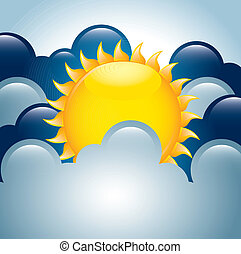 cloudy design over sky background vector illustration