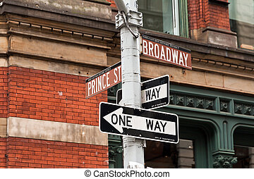 SOHO street signs in New York, USA - Street signs in New...