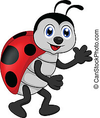 funny lady bug cartoon - vector illustration of funny lady...