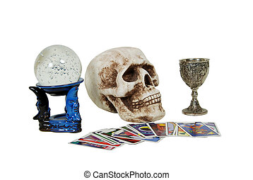 Gypsy tools - Skull with eye sockets and teeth, crystal ball...