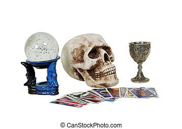 Gypsy tools - Skull with eye sockets and teeth, crystal ball...