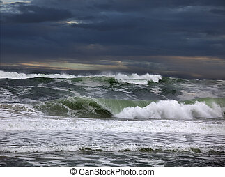 Australia - Tasman Sea with stormy clouds and waves