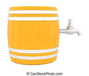 Barrel with the tap - Barrel with the tap isolated on white...