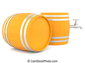Barrel with the tap. - Barrel with the tap isolated on white...