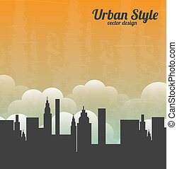 urban style over sky background vector illustration
