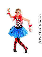 Smiling Abstract Circus Jester Performer - Preteen Girl...
