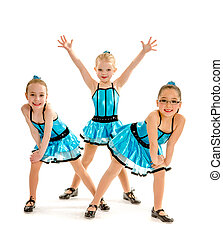 Novice Girls Tap Dance Trio - Three Novice Girl Students...
