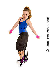 Fierce HipHop DancerGirl - A Fierce Young Girl Poses as a...