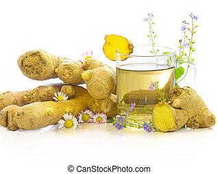 chá, gengibre, ervas, gostoso, herbário, fresco