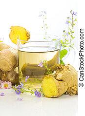 fresco, herbário, chá, raiz, gengibre