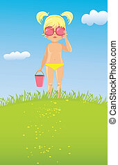 Girl in sunglasses on the lawn