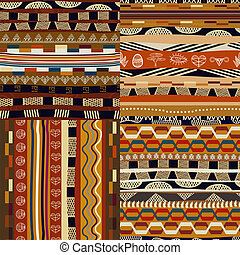 Set of seamless traditional ethnic patterns
