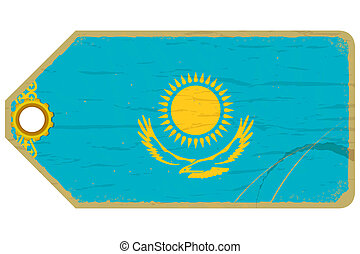 Vintage label with the flag of Kazakhstan