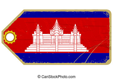 Vintage label with the flag of Cambodia