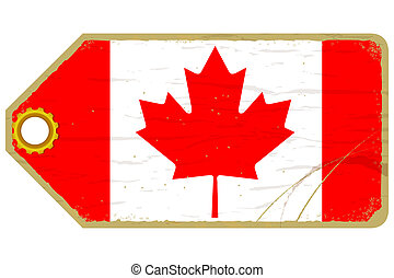 Vintage label with the flag of  Canada