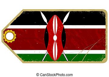 Vintage label with the flag of Kenya