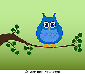 Owl sitting on a branch, vector
