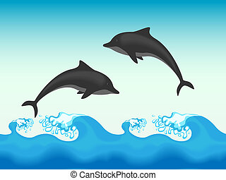 Two dolphins jumping in sea